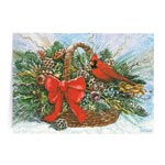 Secular - Cardinal Basket Christmas Card Set of 20