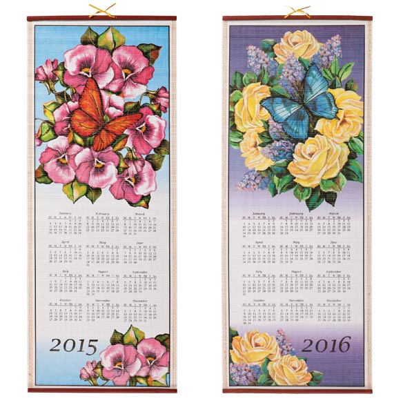 Floral Butterfly Wall Scroll Calendar