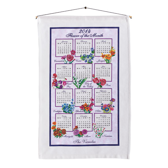 Flower of the Month Personalized Calendar Towel