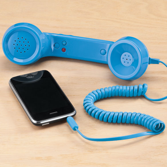 Retro Phone Handset Retro fun with function! Simply connect handset to your cell phone to enjoy old-fashioned conversation. When plugged into your mobile's standard (3.5mm) headphone jack, you can answer, make calls or keep chatting comfortably. Reduces concern of head radiation, too. No batteries required. 8 1/2 long x 2 1/4 wide x 2 high. Plastic.