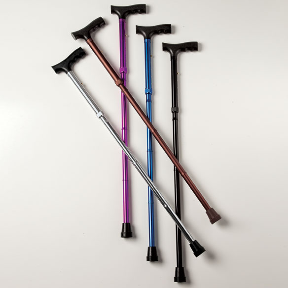 Folding Cane Sturdy aluminum folding cane features a comfortable, ergonomic handle and non-slip rubber tip for all-weather safety. Lightweight folding cane's portable design folds for easy storage and travel. Supports up to 250 lbs. Height adjusts 32–36.