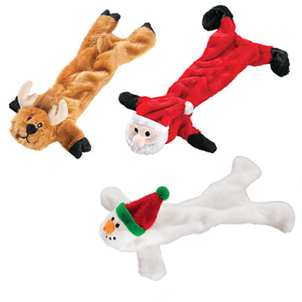 Stuffing Free Christmas Dog Toys, Set of 3 Fill Fido's stocking with furry, festive, stuffing-free toys and let the head-shakin', tail-waggin' squeakin' begin! Set of 3 includes reindeer, snowman and Santa--all with magical squeakers for merry fun, and no dangerous stuffing to worry about. Each, approx. 13  L.