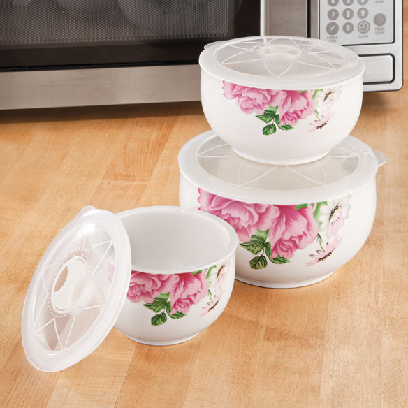 Floral Ceramic Bowls With Vented Lids - Set Of 3