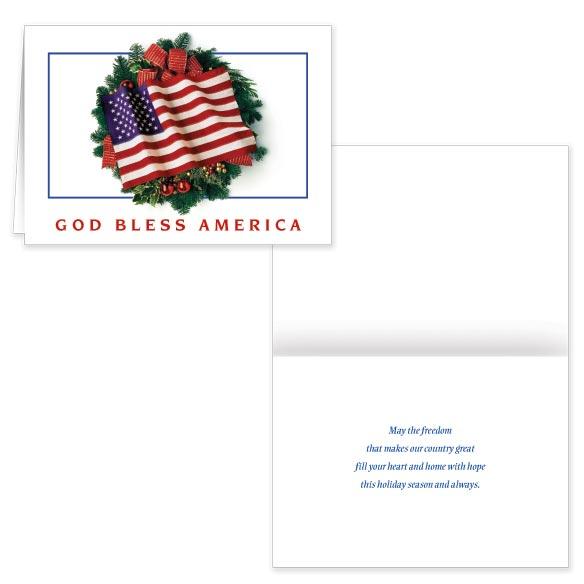 Flag Wreath Christmas Card Set of 20 Plain