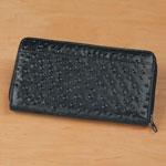 Health, Beauty & Apparel - Black Faux Ostrich Clutch Wallet