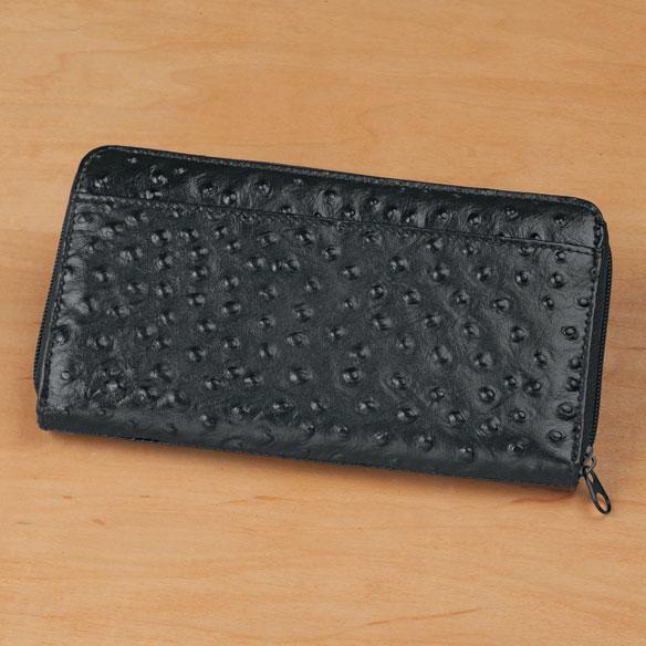 Black Faux Ostrich Clutch Wallet