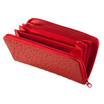 Health, Beauty & Apparel - Red Faux Ostrich Clutch Wallet