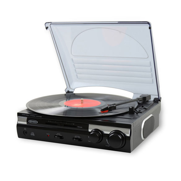 Jensen 3 Speed Stereo Turntable with Built In Speakers and MP3 Converter