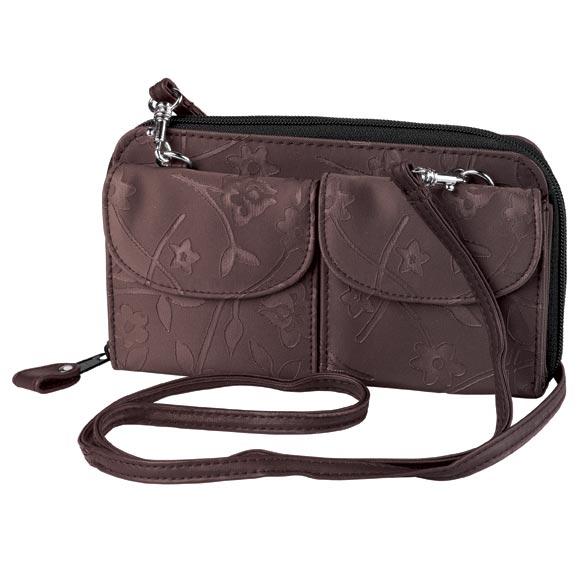Brown Satin Floral Mini Bag