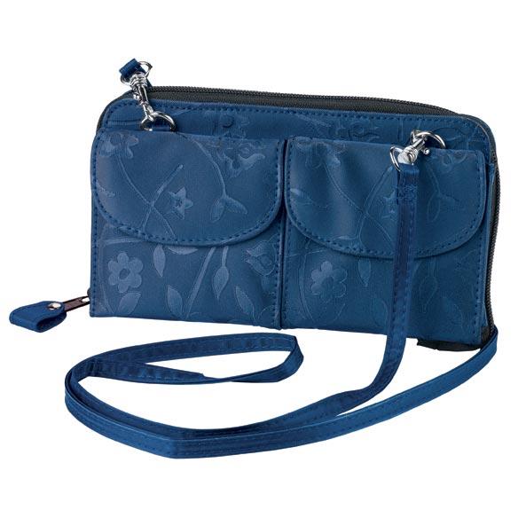 Navy Blue Satin Floral Mini Bag