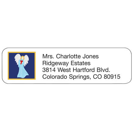 Angel With Heart Address Labels Angel with heart address labels are delightfully designed. Address labels are self-stick and white. Labels are personalizedonalized in black. Specify up to 4 lines, 26 letters and spaces per line. Set of 200 personalizedonalized address labels; 2 1/4  x 5/8  each.