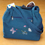 Handbags & Wallets - Three Section Embroidered Denim Handbag