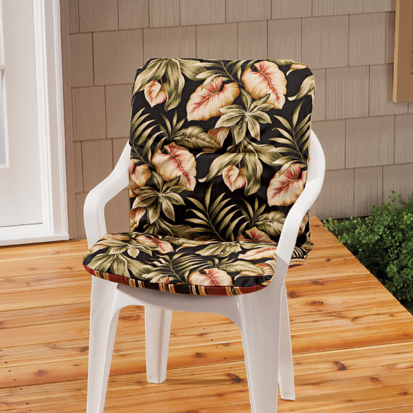 Reversible Outdoor Chair Cushion With Ties