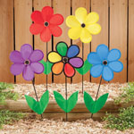 Decorative - Colorful Flower Spinners Set of 5