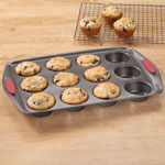 Closeout Deals - 12 Cup Muffin Pan with Silicone Handles