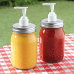 Outdoor Entertaining - Mason Jar Condiment Dispensers, Set of 2