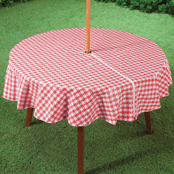 "70"" dia. Round Gingham Zippered Table Cover"