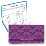 Calendars - Personalized 2 Year Planner Purple Damask
