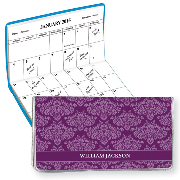 Personalized Purple Damask Pocket Planner