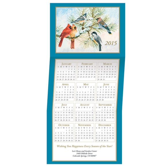 Songbird Calendar Christmas Card Set of 20