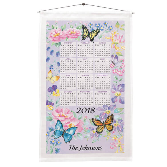 Personalized Butterfly Garden Calendar Towel Personalized butterfly garden calendar towel brightens any room! Linen/cotton blend is approx. 27 1/2  long x 16  wide. Personalized dish towel includes dowel and cord. This cloth calendar towel depicts a splendidly colorful butterfly garden in the sun. Specify up to 1 line, 18 characters. Great dish towels after the year is done.