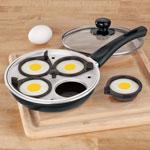 Frying Pan With Egg Poacher Insert, Black