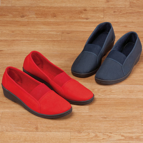 Comfort Fit Elastic Slip On Shoes Elastic slip-on loafers are perfect for any casual occasion. Stretch-to-fit elastic top panel and cushioned insole provide all-day comfort. Casual loafer's low wedge heel and flexible, non-slip sole add stability to your step. Specify size.|||Size Chart