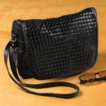 Handbags & Wallets - Basket Weave Bag with Flap