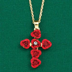 Health, Beauty & Apparel - Red Roses Cross Necklace