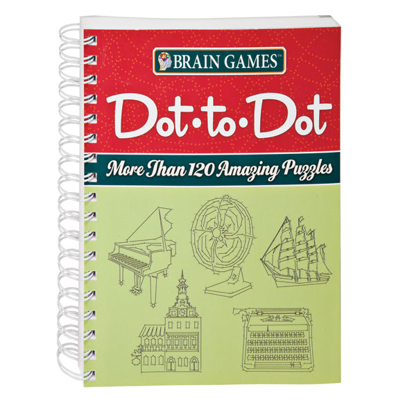Brain Games Dot to Dot Puzzle Book Sure it's fun, but connecting the dots in this Brain Games Dot to Dot puzzle book will engage your brain, increase mental flexibility and enhance your focus and problem-solving skills. Featuring 125 puzzles to satisfy any dot-to-dot obsession, each page's challenge in this dot-to-dot puzzle will reveal detailed pictures of animals, people, fascinating objects and more. With some puzzles taking you from 1 to 365 dots, you'll be amazed at the incredibly detailed drawings you'll create! Relax ... solutions are provided at the back of the book in case you get stumped. Spiral-bound softcover, 160 pages. 9 long x 7 3/8 wide.