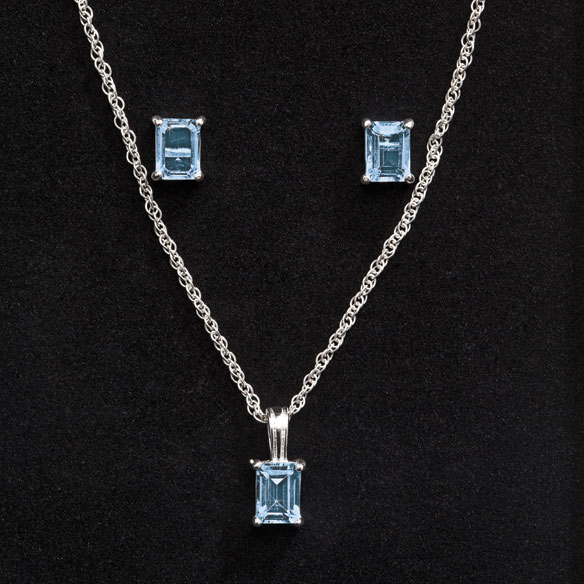 Blue Topaz Earring & Necklace Set - View 1