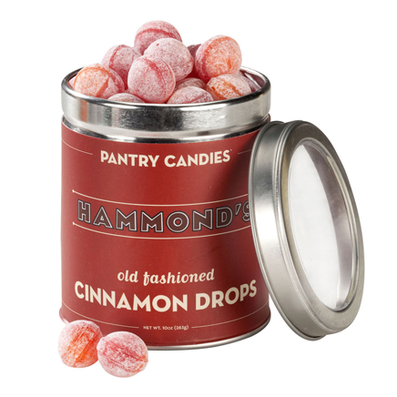 Hammond's Old Fashioned Cinnamon Drops Tin - 10 oz. No one does cinnamon like Hammond's-and it's no surprise, since they've been handcrafting their award-winning candy since 1920. Cooked slowly in copper kettles, these old-fashioned cinnamon drops are smooth and full of flavor, delivering a slight taste of woodsy spice enhanced with the heat of pure cinnamon oil. Sanded with sugar, the long-lasting cinnamon drops deliver big flavor from start to finish. Nestled in a nostalgic tin, they're perfect for giving. 10 oz.|||Ingredients |||Nutrition Info