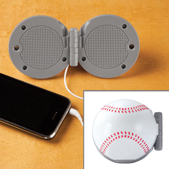 Sports Fan Stereo Speakers Enjoy great sound quality anywhere! Sports fan stereo speakers connect to any music player or mobile phone with a 3.5mm audio jack. These folding speakers are perfect for tailgating, parties, or enjoying your favorite songs at your desk or in any room in your home. Portable stereo features 20 Hz–20kHz frequency and 6  L cord. Compact design is only 3  dia. when folded - great for stashing in a tote or backpack. Makes a great gift for any sports fan! 6 1/4  L when open.