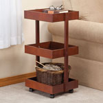 Storage & Organizers - Mahogany 3 Tier Rolling Cart by OakRidge Accents™