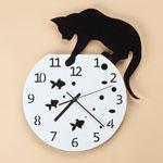 New - Fishbowl Cat Clock