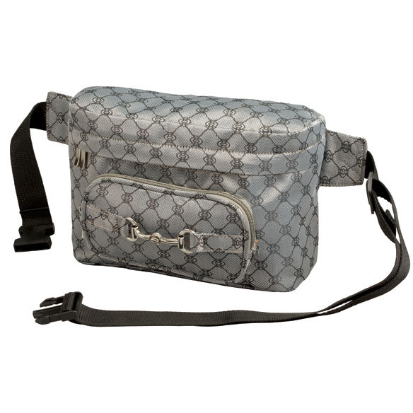 The Fashion Pack Convenience is always in fashion! Stylish jacquard exterior features easy-access front and secure back zip pockets. Spacious interior features large zip pocket, small pocket and 4 card slots. Waist strap with quick-release buckle expands to 55 long. 10 long x 4 wide x 6 1/2 high. Professional clean.