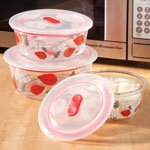 Food Storage - Glass Bowls with Vented Lids, Set of 3