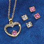Jewelry & Accessories - Pink Crystal Heart Pendant & Earring Set