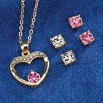 Jewelry & Accessories - Pink Heart Pendant & Earring Set