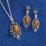 Jewelry & Accessories - Tigereye Pendant & Earrings Set