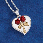 Jewelry & Accessories - Heart Rose Pendant with Engraving