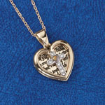 Jewelry & Accessories - Heart Pendant with Crystal Cross & Mustard Seed