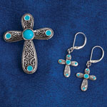 Jewelry & Accessories - Turquoise Cross Pin and Earring Set