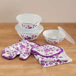 Table Top & Entertaining - 10 Pc. Purple Floral Kitchen Set