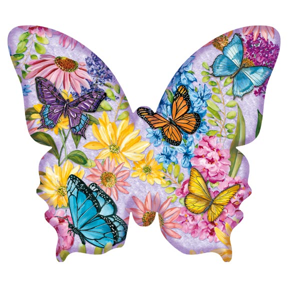 Butterfly Garden Shaped Puzzle - 640 Pieces Twice the fun as an ordinary jigsaw, this Butterfly Garden shaped puzzle's borders take the shape of a large butterfly when pieced together. Brimming with amazing colors, detailed butterflies and vibrant flowers, it's a natural way to enjoy the beauty of spring, anytime! Great for brain training and mental exercise to help keep you young, the 640-pc. jigsaw puzzle boasts premium quality at an amazing price, perfect for any puzzle lover on your gift list. Approximately 29 1/2 long x 25 3/4 wide. SMALL PARTS. Not for < 3 yrs.