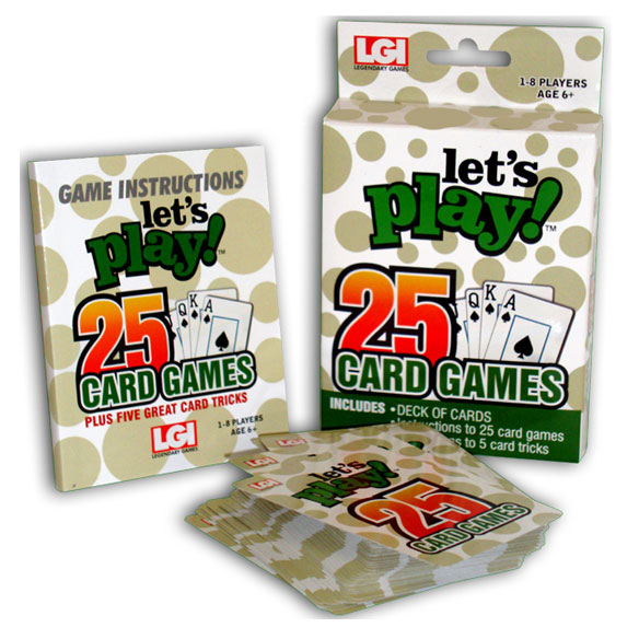 Let's Play 25 Card Games With 25 of the world's most popular card games in one take-along pack, this Let's Play 25 Card Games is one  heck of a deck  the whole family will love! Tucked in a small, easy-storing box for game night or travel, it's the ultimate gift for any card lover on your list. The 25-game card game set includes a deck of playing cards and simple instructions for: Auction Pitch, Blackjack, Bridge, Canasta, Casino, Crazy Eights, Euchre, Five Card Draw, Five and Seven Card Stud, Gin Rummy, Go Fish, Hearts, Old Maid, Partnership Auction Pinochle, Rummy, Slapjack, Solitaire, Spades, Spoons, Ten Point Pitch, Texas Hold-Em, Thirty-One, Two Player Pinochle, War and Whist ... plus five bonus card tricks! This popular card game set is for 1 - 8 players, ages 6 and up.
