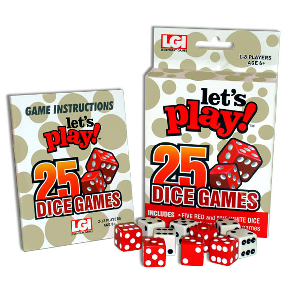 Let's Play 25 Dice Games Roll after roll, this Let's Play 25 Dice Games set WINS-loaded with more than two dozen games to enjoy at home or on the go! Dice game set includes five red and five white dice, plus easy instructions for 25 dice games in one smart, easy-storing box. Learn how to play: All Fives, Barbudi, Beat the Bank, Black Jack, Bunco, Centennial, Chicago, Craps, Drop Dead, Four-Five-Six, Going to Boston, Help Your Neighbor, Liar Dice, Poker Dice, Sevens Out, Ship Capt. Mate and Crew, Ten Thousand, Threes, Under and Over, Yacht, Beetle, Indian Chief, One-o-Five, Pig, Plus and Minus. For 1 - 12 players, ages 8 and up. SMALL PARTS. Not for < 3 yrs.