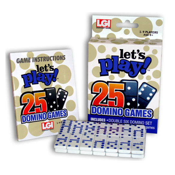 Let's Play 25 Domino Games Domino night just got better (25 times better!), thanks to this Let's Play 25 Domino Games set! The small, easy-traveling dominoes game set includes one set of Double-Six Dominoes, plus simple instructions for 25 Domino games. Learn how to play: All Fives, All Threes, Baronet, Bergen, Black Jack, Blind Hughie, Block Dominoes, Concentration, Cross, Draw Dominoes, Flower and Scorpion, Fortress, Matador, Mexican Train, Moon, Muggins, One-Arm Joe, Patience, Poker, Sebastopol, Seven-Toed Pete, Stack Solitaire, Texas 42, Tiddly-Wink and War. Domino set for 1 - 9 players, ages 8 and up. SMALL PARTS. Not for < 3 yrs.