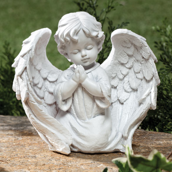 Cherub Garden Statue Gracing any outdoor space with celestial charm, our cherub garden statue is posed in prayer and beautifully detailed, from heavenly wings to folded hands. Sculpted of 100% resin with the heft to withstand outdoor conditions, the freestanding yard statue will enhance a flower bed, add welcoming warmth to a walkway, or lend blessed comfort to a memorial garden or graveside display. In white. Resin statue measures 7 wide x 7 high.