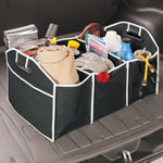 Collapsible Trunk Container with Cooler, Black/White